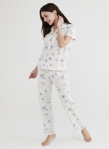 Penti Beyaz Dreamy Flowers Pijama Takımı Beyaz